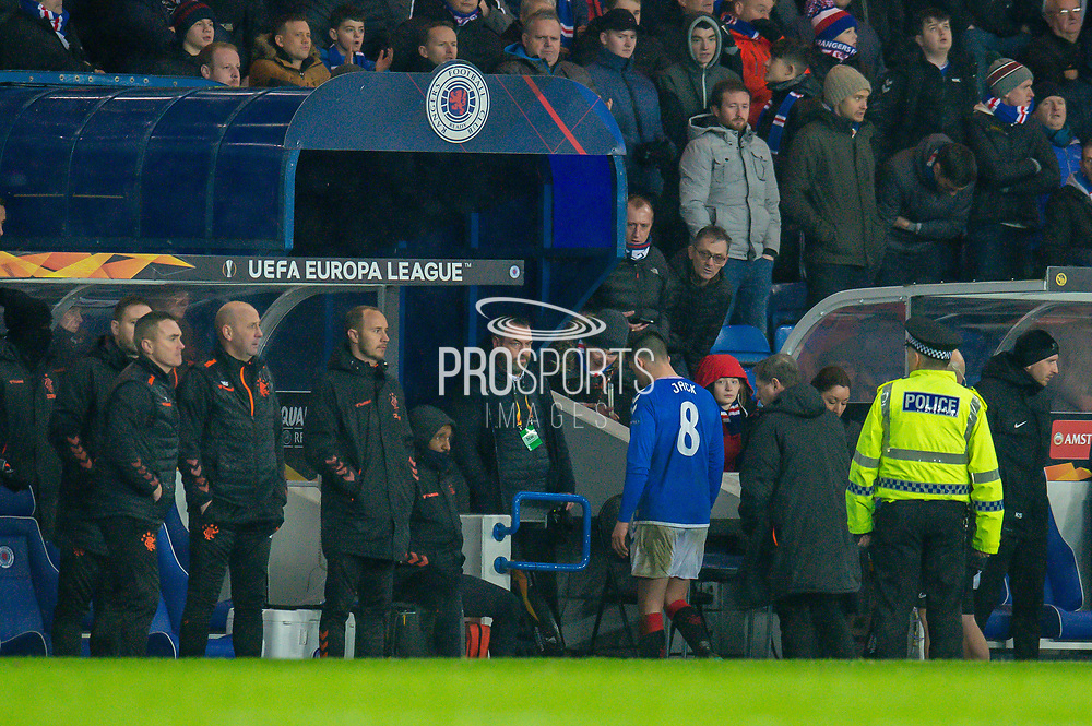 Ryan Jack (#8) of Rangers FC makes his way up the tunnel after being shown a red card during the Europa League Group G match between Rangers FC and BSC Young Boys at Ibrox Park, Glasgow, Scotland on 12 December 2019.