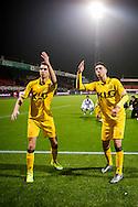 ROTTERDAM, Excelsior - Roda JC, voetbal, Eredivisie seizoen 2015-2016, 23-01-2016, Stadion Woudenstein, spelers van Roda vieren de overwinning en bedanken de meegereisde supporters, Roda JC speler Tom van Hyfte (L) en doelpuntenmaker Roda JC speler Hicham Faik (R).