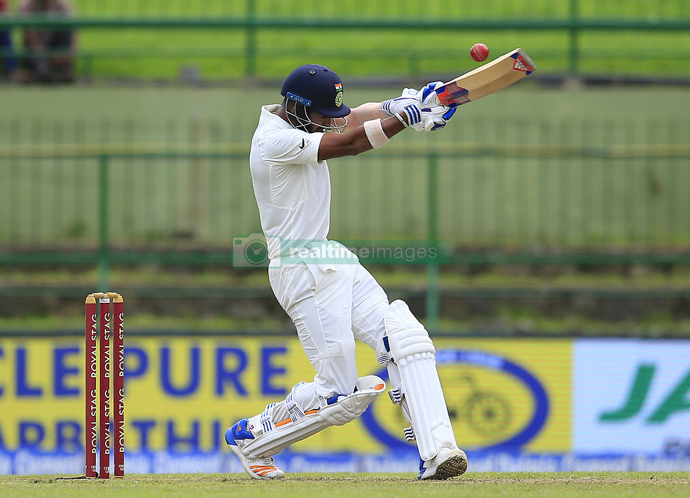 August 12, 2017 - Colombo, Sri Lanka - Indian cricketer Lokesh Rahul plays a shot during the 1st Day's play in the 3rd Test match between Sri Lanka and India at the Pallekele International cricket stadium, Kandy, Sri Lanka on Saturday 12 August 2017. (Credit Image: © Tharaka Basnayaka/NurPhoto via ZUMA Press)