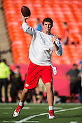 KANSAS CITY, MO - AUGUST 29:  Tyler Bray #9 of the Kansas City Chiefs warms up before the last preseason game against the Green Bay Packers at Arrowhead Stadium on August 29, 2013 in Kansas CIty, Missouri.  (Photo by Wesley Hitt/Getty Images) *** Local Caption *** Tyler Bray