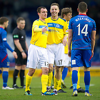 Inverness Caledonian Thistle v St Johnstone...27.10.12      SPL<br /> A happy Steven MacLean congratulates David Robertson at full time as he shakes hands with Josh Meekings<br /> Picture by Graeme Hart.<br /> Copyright Perthshire Picture Agency<br /> Tel: 01738 623350  Mobile: 07990 594431