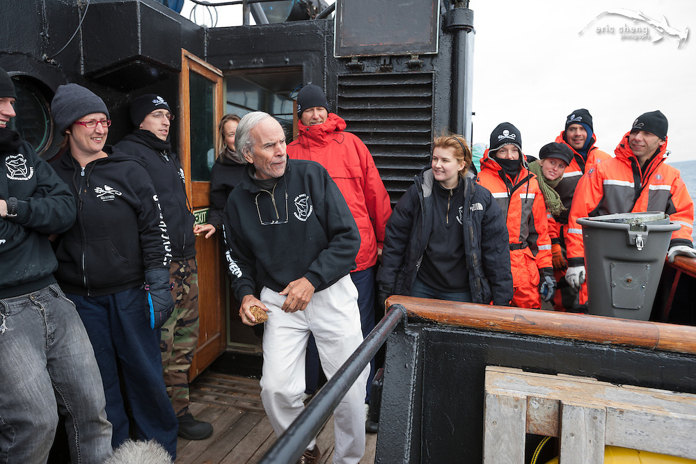 Doug Tompkins in the throwing competition. Operation Musashi. (Photo: Eric Cheng / Sea Shepherd Conservation Society)