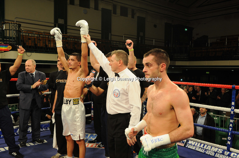 Lee Selby defeats John Simpson for The British & Commonwealth Featherweight Title at York Hall, Bethnal Green, London on 14th December 2011. Frank Warren Promotions. Photo credit: © Leigh Dawney 2011.