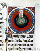 Astronomical diagram showing the Earth, centre, surrounded by Water, Air, Fire and the sphere of the planets. Gassouin de Metz,13th century manuscript. Bibliotheque Nationale,  Paris.
