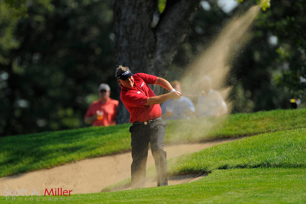 Aug 14, 2009; Chaska, MN, USA; Darren Clarke (IRL) hits out of a bunker on the third hole during the second round of the 2009 PGA Championship at Hazeltine National Golf Club.  ©2009 Scott A. Miller