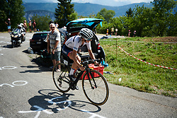 Cecilie Uttrup Ludwig (DEN) builds a considerable lead at La Course by Le Tour de France 2018, a 112.5 km road race from Annecy to Le Grand Bornand, France on July 17, 2018. Photo by Sean Robinson/velofocus.com