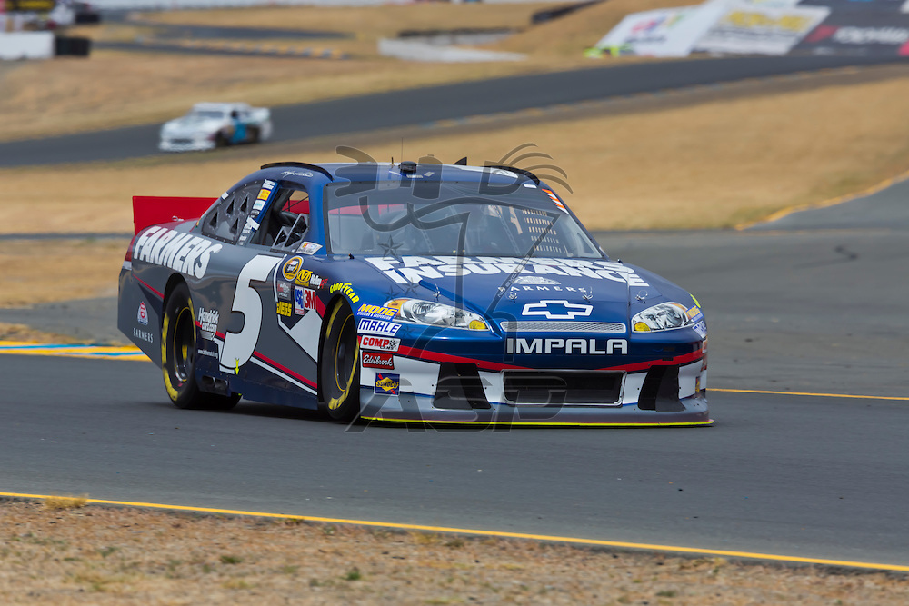 SONOMA, CA - JUN 22, 2012:  Kasey Kahne (5) brings his car through turn 10 during a practice session for the Toyota Save Mart 350 at the Raceway at Sonoma in Sonoma, CA.