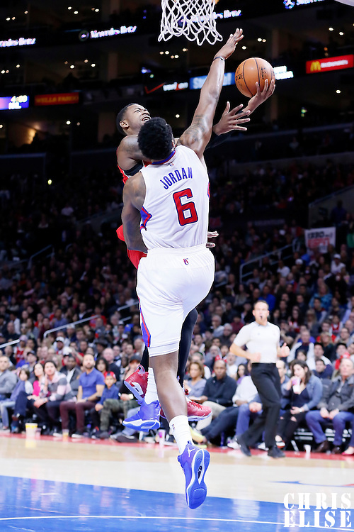 27 December 2014: Toronto Raptors forward Terrence Ross (31) goes for the layup against Los Angeles Clippers center DeAndre Jordan (6) during the Toronto Raptors 110-98 victory over the Los Angeles Clippers, at the Staples Center, Los Angeles, California, USA.