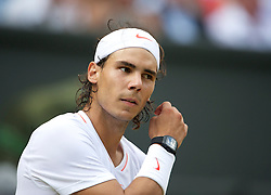 LONDON, ENGLAND - Saturday, June 26, 2010: Rafael Nadal (ESP), wearing a Tourbillon watch RM 027, the lightest mechanical watch ever made (only weighing a mere 3.83 grams), during the Gentlemen's Singles 3rd Round match on day six of the Wimbledon Lawn Tennis Championships at the All England Lawn Tennis and Croquet Club. (Pic by David Rawcliffe/Propaganda)