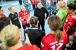 Zoran Jankovic, Mayor of Ljubljana talks with players of Krim after the handball match between RK Krim Mercator (SLO) and RK Buducnost (MNE) in Round #3 of Main Round of EHF Women's Champions League 2014/15, on February 13, 2015 in Arena Stozice, Ljubljana, Slovenia. Photo by Vid Ponikvar / Sportida