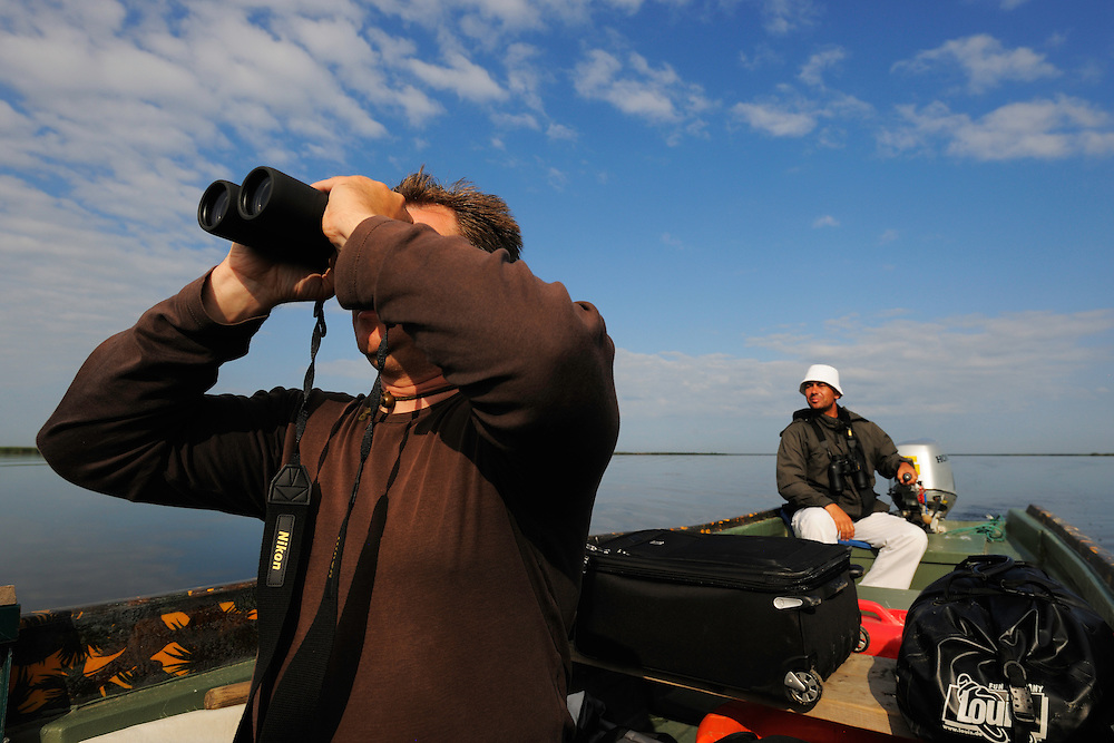 Birdwatcher Cristian Mititelu, wildlife watching tourism, Danube delta rewilding area, Romania