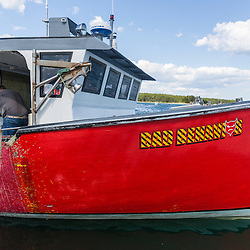 Captain Richard Smith's lobster boat, 'Bad Behavior', at Great Wass Lobster in Beals, Maine.