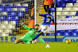 Middlesbrough's Dimitrios Konstantopoulos fouls Birmingham City's Clayton Donaldson for a penalty and is later sent off - Photo mandatory by-line: Dougie Allward/JMP - Mobile: 07966 386802 - 18/02/2015 - SPORT - Football - Birmingham - ST Andrews Stadium - Birmingham City v Middlesbrough - Sky Bet Championship