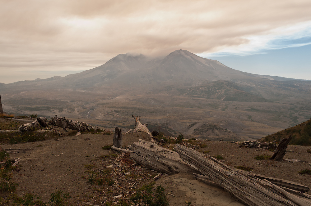 Smoke from wildfires on Mt. Adams engulfs Mt. St. Helens.