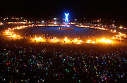 "The ""Man"" is ritually burned Saturday night in the culmination of the Burningman counter culture arts festival in the Black Rock Desert 100 miles north east of Reno, NV, Friday, Sept 3, 2004."