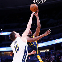 03 April 2018: Indiana Pacers forward Thaddeus Young (21)  goes for the layup against Denver Nuggets center Nikola Jokic (15) during the Denver Nuggets 107-104 victory over the Indiana Pacers, at the Pepsi Center, Denver, Colorado, USA.