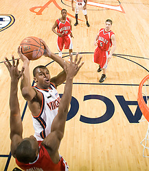 Virginia guard Jeff Jones (1) shoots against Bradley.  The Virginia Cavaliers fell to the Bradley Braves 96-85 in the semifinals of the 2008 College Basketball Invitational at the University of Virginia's John Paul Jones Arena in Charlottesville, VA on March 26, 2008.