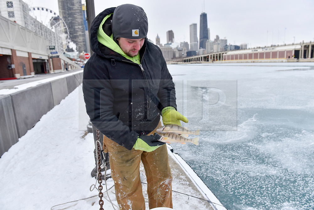 © Licensed to London News Pictures. 31/12/2017. CHICAGO, USA.  A man show of his catch of perch as he takes part in ice fishing off Navy Pier. The waters of Lake Michigan around Chicago have frozen during a period of sub-zero temperatures.  Extremely cold conditions are forecast to continue into the New Year. Photo credit: Stephen Chung/LNP