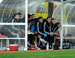 Bristol City manager, Steve Cotterill shouts instructions from the bench - Photo mandatory by-line: Dougie Allward/JMP - Tel: Mobile: 07966 386802 14/01/2014 - SPORT - FOOTBALL - Vicarage Road - Watford - Watford v Bristol City - FA Cup - Third Round - replay