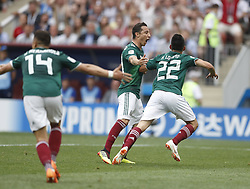 MOSCOW, June 17, 2018  Hirving Lozano (R) of Mexico celebrates scoring during a group F match between Germany and Mexico at the 2018 FIFA World Cup in Moscow, Russia, June 17, 2018. (Credit Image: © Cao Can/Xinhua via ZUMA Wire)