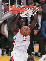 April 10, 2018 - Los Angeles, California, U.S - Clint Capela #15 of the Los Angeles Lakers makes a dunk during their NBA game with the Houston Rockets on Tuesday April 10, 2018 at Staples Center in Los Angeles, California. Lakers lose to Rockets, 105-99. (Credit Image: © Prensa Internacional via ZUMA Wire)