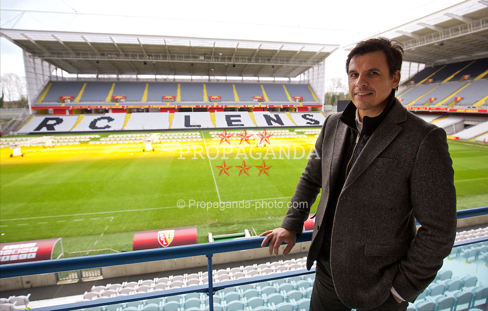 LENS, FRANCE - Wednesday, January 27, 2016: Wales' manager Chris Coleman at the Stade Felix Bollaert, home of RC Lens, during an inspection visit ahead of the UEFA Euro 2016 Tournament. (Pic by David Rawcliffe/Propaganda)