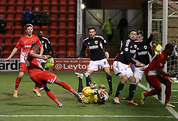 Bristol City's Simon Moore saves from Leyton Orient's Kevin Lisbie - Photo mandatory by-line: Robin White/JMP - Tel: Mobile: 07966 386802 11/02/2014 - SPORT - FOOTBALL - Leyton - Brisbane Road - Leyton Orient v Bristol City - Sky Bet League One