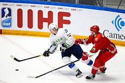 Jan Drozg of Slovenia vs Sergei Malyavko of Belarus during ice hockey match between Belarus and Slovenia at IIHF World Championship DIV. I Group A Kazakhstan 2019, on May 2, 2019 in Barys Arena, Nur-Sultan, Kazakhstan. Photo by Matic Klansek Velej / Sportida