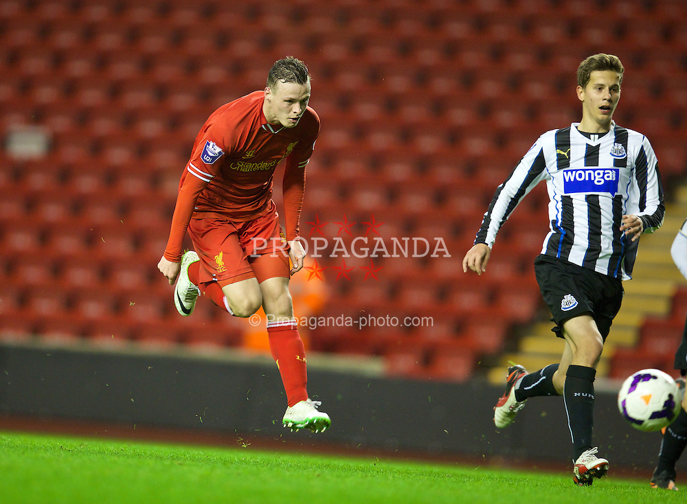 LIVERPOOL, ENGLAND - Friday, March 21, 2014: Liverpool's Brad Smith in action against Newcastle United during the Under 21 FA Premier League match at Anfield. (Pic by David Rawcliffe/Propaganda)