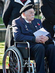 © Licensed to London News Pictures. 15/02/2012. Northolt, London, U.K..Walter Hart, ex-serviceman at The remembrance sunday service at the Polish War memorial in Northolt, next to the Northolt RAF base, today (11/11/2012), erected after the second world war to commemorate the service of Polish Airmen during the war. Walter was in the medical corps at dunkirk and during D-DAY..Photo credit : Rich Bowen/LNP