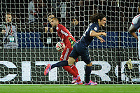 Uruguayan forward Edinson Cavani of Paris Saint Germain celebrates scoring his goal as Portuguese goalkeeper Anthony Lopes of Lyon catches the ball in his nets during the French Championship Ligue 1 football match between Paris Saint Germain and Olympique Lyonnais on September 21, 2014 at Parc Des Princes stadium in Paris, France. Photo Jean Marie Hervio / Regamedia / DPPI