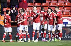 Bristol City players celebrate Matt Smith's goal against Gillingham - Photo mandatory by-line: Paul Knight/JMP - Mobile: 07966 386802 - 29/01/2015 - SPORT - Football - Bristol - Ashton Gate Stadium - Bristol City v Gillingham - Johnstone's Paint Trophy