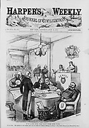 Alabama Claims, dispute between USA and Britain over damage caused by Confederate vessel 'Alabama' during American Civil War. Uncle Sam addressing international arbitration court. USA awarded $15.5 million. Engraving 27 July 1872.