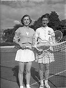 30/08/1952<br /> 08/30/1952<br /> 30 August 1952<br /> Tennis - Irish National Junior Championships at Fitzwilliam Tennis Club, Appian Way, Dublin.  Miss Ann O'brien, Sacred Heart Convent , Leeson Street, Irish Senior Girls Tennis Champion with runner-up Miss Hadassah Robinson, Coleraine.