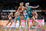 SYDNEY, NSW - JUNE 22: Kim Green of the Giants and Renae Ingles of the Vixens contest for the ball during the round 9 Super Netball match between the Giants and the Vixens at Quaycentre on June 22, 2019 in Sydney, Australia. (Photo by Speed Media/Icon Sportswire)