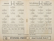 All Ireland Senior Hurling Championship Final,.Programme,.05.09.1954, 09.05.1954, 5th September 1954,.Cork 1-9, Wexford 1-6,.Minor Dublin v Tipperary, .Senior Cork v Wexford,.Croke Park,..Cork Senior Team, D Creedon, Goalkeeper, Glen Rovers, Co Cork, G O'Riordan, Right corner-back, Blackrock, Co Cork, J Lyons, Full-back, Glen Rovers, Co Cork, A O'Shaughnessy, Left corner-back, St Finbarr's, Co Cork, M Fouhy, Right half-back, Carrigtwohill, Co Cork, V Twomey, Centre half-back, Glen Rovers, Co Cork, D Hayes, Left half-back, Blackrock, Co Cork, G Murphy, Midfielder, Midelton, Co Cork, W Moore, Midfielder,  Carrigtwohill, Co Cork, W G Daly, Right half-forward, Carrigtwohill, Co Cork, J Hartnett, Centre half-forward, Glen Rovers, Co Cork, C. Ring, Captain, Left half-forward, Glen Rovers, Co Cork, G Clifford, Right corner-forward, Glen Rovers, Co Cork, E Goulding, Centre forward, Glen Rovers, Co Cork, P Barry, Left corner-forward, Sarsfield, Co Cork, Substitutes, G Brohan, Blackrock, Co Cork, S O'Brien, Glen Rovers, Co Cork, D O'Sullivan, Glen Rovers, Co Cork, M Cashman, Blackrock, Co Cork, T O'Sullivan, Buttevant, Co Cork,..Wexford Senior Team, A Foley, Goalkeeper, St Aidan's Enniscorthy, Co Wexford, W Rackard, Right corner-back, Rathnure, Co Wexford, N. O'Donnell, Full-back, St Aidan's Enniscorthy, Co Wexford, M O'Hanlon, Left corner-back, Horeswood, Co Wexford, Jas English, Right half-back, Rathnure, Co Wexford, R Rackard, Centre half-back, Rathnure, Co Wexford, Ed Wheeler, Left half-back, Piercetown St Martin's, Co Wexford, Jas. Morrissey, Midfielder, Piercetown St. Martin's, Co Wexford, J Hearne, Midfielder, Ardcolm, Co Wexford, Patk. Kehoe, Right half-forward, Cushenstown, Co Wexford, T Flood, Centre half-forward, Cloughbawn, Co Wexford, Padge Kehoe, Captain, Left half-forward, St Aidan's Enniscorthy, Co Wexford, T Ryan, Right corner-forward, St. Aidan's Enniscorthy, N Rackard, Centre forward, Rathnure, Co Wexford, R O'Donovan, Left corner-forward, Piercetown St. Ma