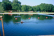 On a hot summer morning, a man rows his scull  along the Alte Donau, Old Danube.  Because of the heat, he is stripped to his waist.   The water reflected a deep blue sky above and the green trees  on the other bank. The background shows a children's playground close to the water.  Red buoys add to the color of the photo.