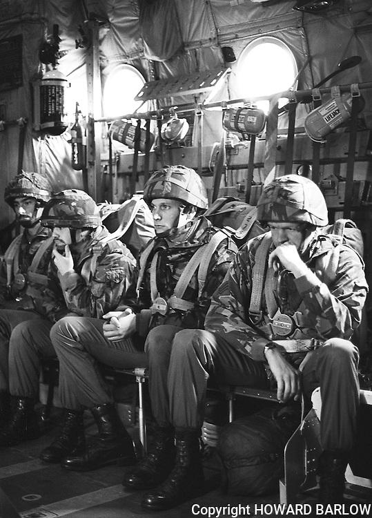 PHOTOGRAPH BY HOWARD BARLOW..........Parachuters prepare for jump in HERCULE'S aircraft..19/10/1988