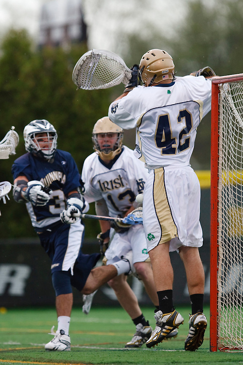 May 1, 2009:    #3 Messina, Gary of Quinnipiac shoots on #42 Scott Rodgers of Notre Dame in action during the NCAA Lacrosse game between Notre Dame and Quinnipiac at GWLL Tournament in Birmingham, Michigan. (Credit Image: Rick Osentoski/Cal Sport Media)