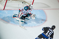 KELOWNA, CANADA - DECEMBER 30: Dante Hannoun #19 of the Victoria Royals scores a shoot out goal on Roman Basran #30 of the Kelowna Rockets on December 30, 2017 at Prospera Place in Kelowna, British Columbia, Canada.  (Photo by Marissa Baecker/Shoot the Breeze)  *** Local Caption ***