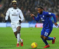Sheyi Ojo of Fulham competes with Junior Hoilett of Cardiff City- Mandatory by-line: Nizaam Jones/JMP- 26/12/2017 -  FOOTBALL - Cardiff City Stadium - Cardiff, Wales -  Cardiff City v Fulham - Sky Bet Championship