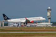 OE-LWH Austrian Airlines (Star Alliance) Embraer ERJ-195LR (ERJ-190-200 LR) at Malpensa (MXP / LIMC), Milan, Italy