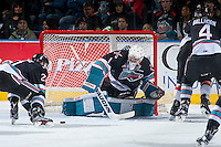 KELOWNA, CANADA - OCTOBER 24: Jackson Whistle #1 of Kelowna Rockets makes a save against the Calgary Hitmen on October 24, 2015 at Prospera Place in Kelowna, British Columbia, Canada.  (Photo by Marissa Baecker/Shoot the Breeze)  *** Local Caption *** Jackson Whistle;