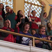 Teachers and school personnel celebrate after the state Senate approved a bill to increase state workers pay across the board by 5% at the capitol in Charleston, W.V., on Tuesday, March 06, 2018; the ninth day of statewide school closures.