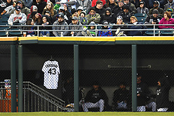 April 21, 2018 - Chicago, IL, U.S. - CHICAGO, IL - APRIL 21: Chicago White Sox relief pitcher Danny Farquhar's (not pictured) jersey is seen hanging in the outfield dugout during a game between the and the Houston Astros the Chicago White Sox on April 21, 2018, at Guaranteed Rate Field, in Chicago, IL. White Sox pitcher Danny Farquhar suffered a brain hemorrhage in the dugout in last night's game after pitching an inning. (Photo by Patrick Gorski/Icon Sportswire) (Credit Image: © Patrick Gorski/Icon SMI via ZUMA Press)