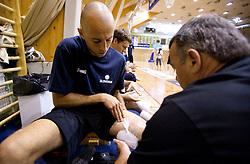 Nebojsa Joksimovic and Teo Djekic during practice session of Slovenian National Basketball team during training camp for Eurobasket Lithuania 2011, on July 12, 2011, in Arena Vitranc, Kranjska Gora, Slovenia. (Photo by Vid Ponikvar / Sportida)