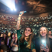 WASHINGTON, DC - December 15th, 2014 - Carmela Clarey, 18, of College Park, MD, Kelly Gorman, 18, of College Park, MD and Haley Davis, 12, of Annapolis, MD watch Shwan Mendes perform during HOT 99.5's Jingle Ball 2014 at the Verizon Center in Washington, D.C. (Photo By Kyle Gustafson / For The Washington Post)
