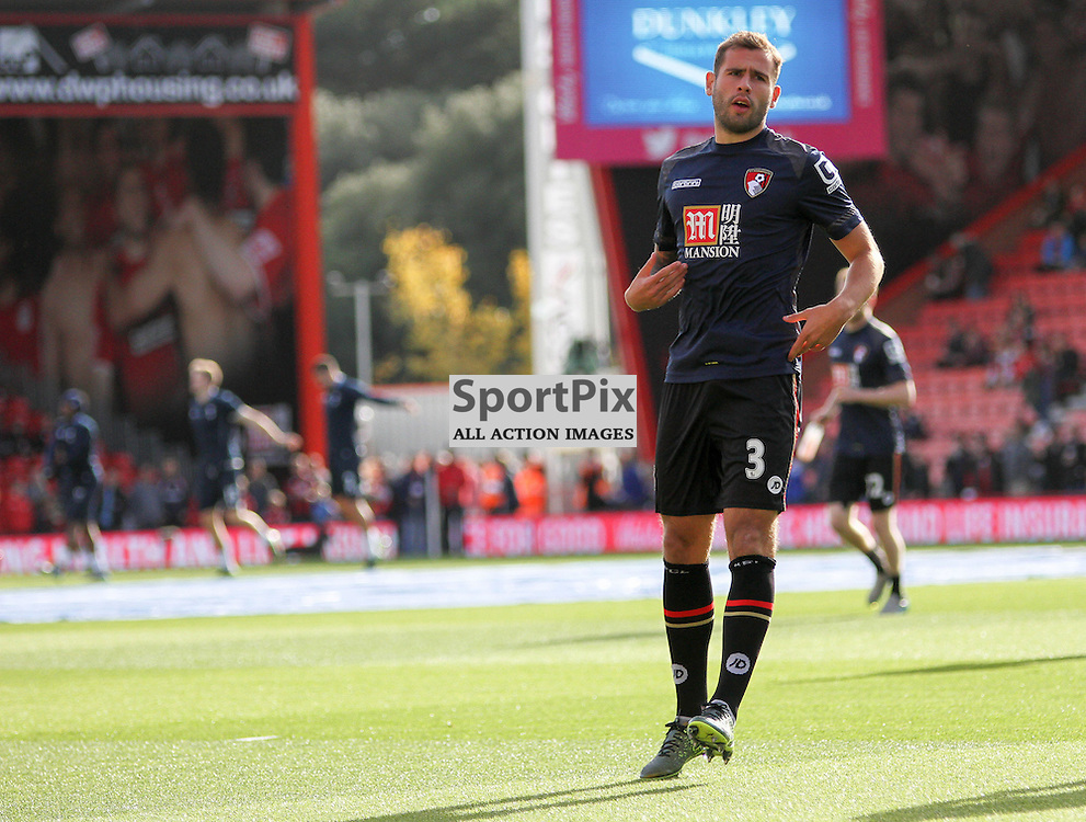 Steve Cook of Bournemouth warms up before  Bournemouth vs Tottenham Hotspur on Sunday 25th of October 2015.