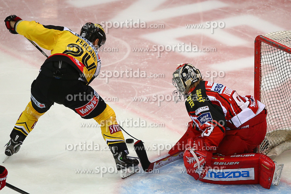 08.12.2014, Albert Schultz Eishalle, Wien, AUT, EBEL, UPC Vienna Capitals vs EC KAC, 25. Runde, im Bild Jonathan Ferland (UPC Vienna Capitals) und Pekka Tuokkola (EC KAC) // during the Erste Bank Icehockey League 25th Round match between UPC Vienna Capitals and EC KAC at the Albert Schultz Ice Arena, Vienna, Austria on 2014/12/08. EXPA Pictures © 2014, PhotoCredit: EXPA/ Thomas Haumer