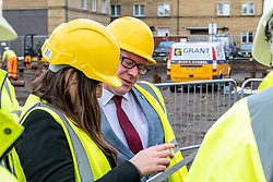 Pictured: Kevin Stewart discusses the housing figures with  Councillor Kate Campbell, convenor of City of Edinburgh Housing and Economics Committee.<br /> <br /> Housing Minister Kevin Stewart visited Waterfront Plaza in Edinburgh today and warned a no-deal Brexit could damage the future growth of the industry in Scotland as the latest new housing supply statistics were published.<br /> <br /> The minister met Keith Anderson, Chief Executive Port of Leith housing authority and Councillor Kate Campbell, convenor of City of Edinburgh Housing and Economics Committee.<br /> <br /> Ger Harley   EEm 24 September 2019